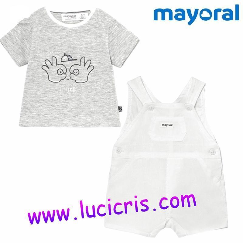Conjunto Peto Blanco y Camiseta Gris Niño Bebé MAYORAL