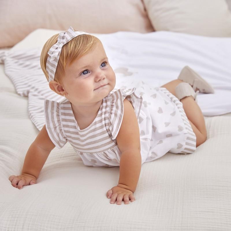 Vestido con Diadema Combinado Bebé Niña MAYORAL Color Taupe