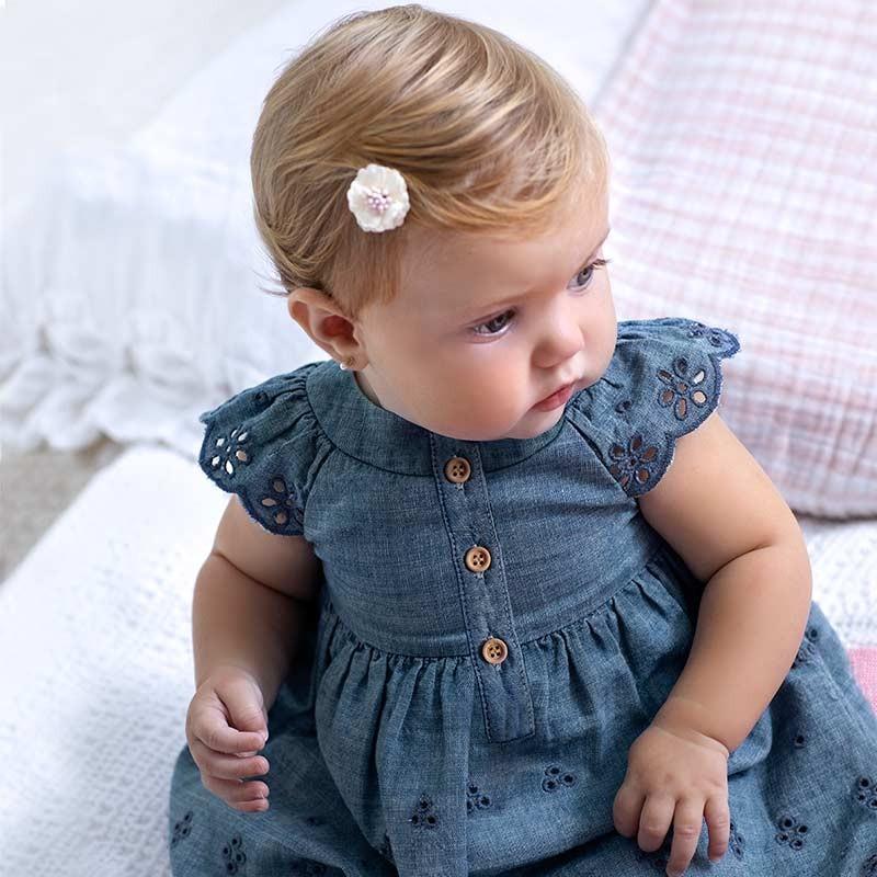 Vestido Tejano Perforado Bebé Niña MAYORAL Color TEJANO