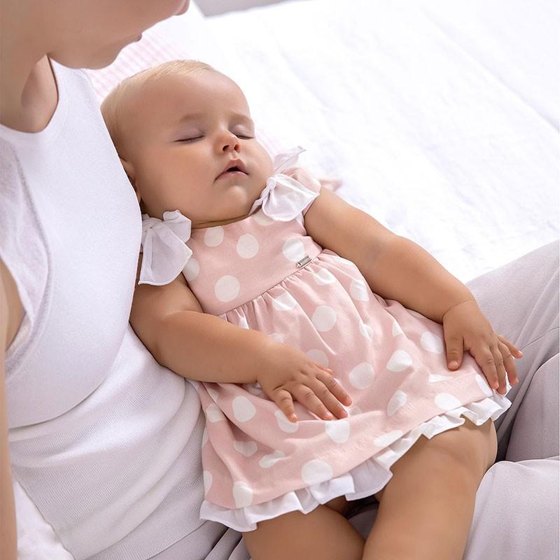 Vestido Lazos Lunares para Bebé Niña MAYORAL Color PALE