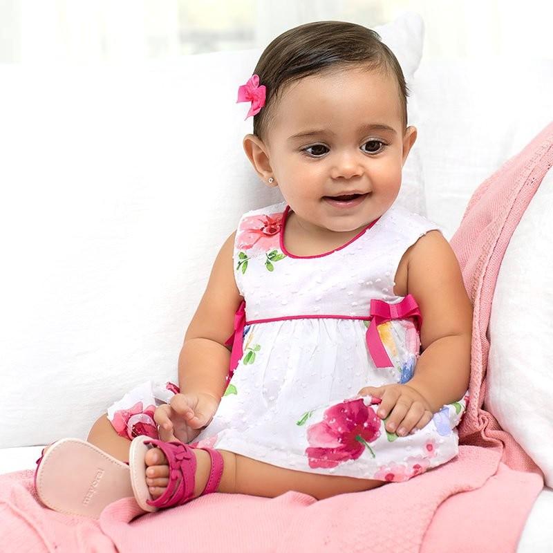 Vestido de Flores y Lazos Bebé Niña MAYORAL Color FRAGOLA