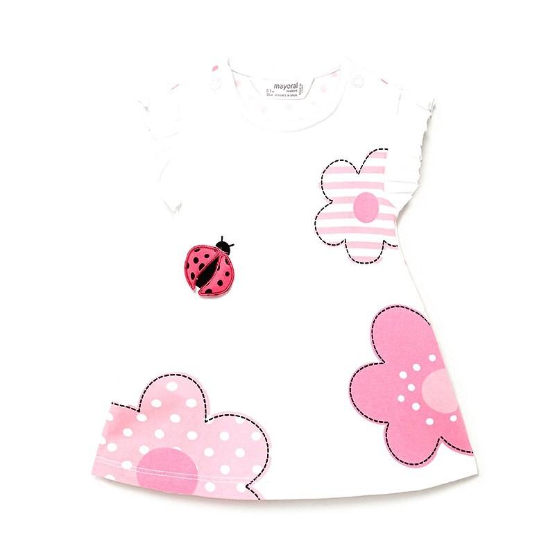 Vestido de Flores y Plisados Bebé MAYORAL Color MERMERLADA