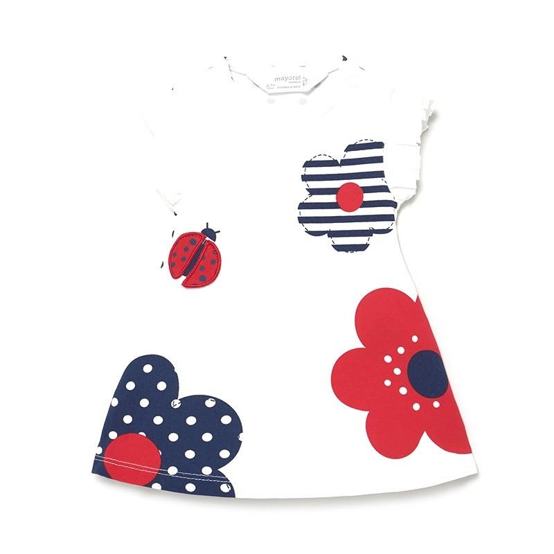 Vestido de Flores y Plisados para Bebé Niña MAYORAL Color ROJO