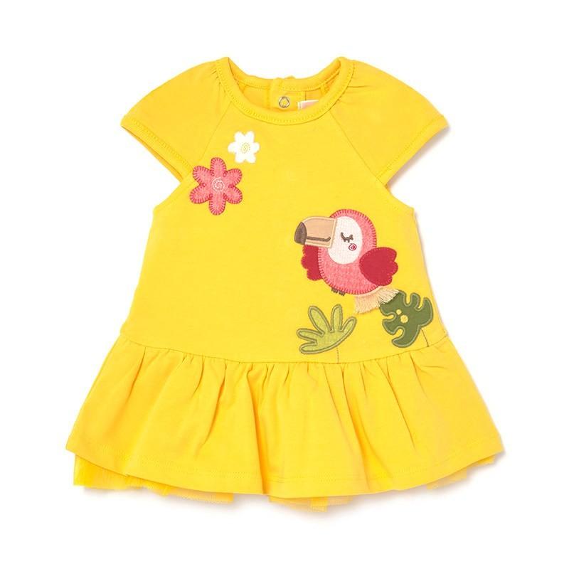 Vestido Punto con Bordados Bebé Niña MAYORAL Color AMARILLO