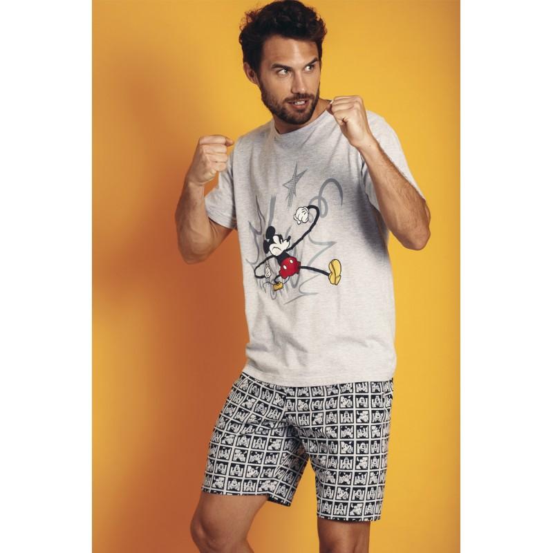 Pijama Verano Hombre DISNEY Mickey Mouse Gris