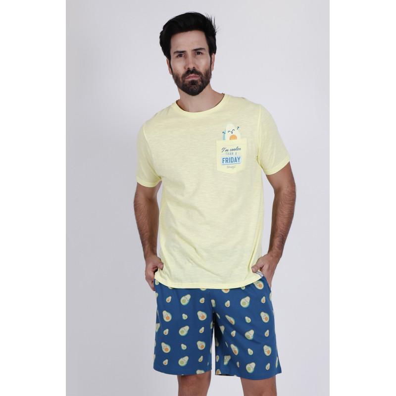 Pijama de Verano Corto Hombre MR WONDERFUL Aguacate