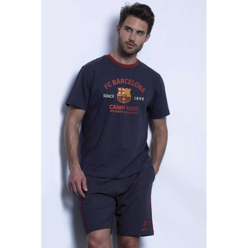 Pijama Hombre Verano FC Barcelona Color Marino