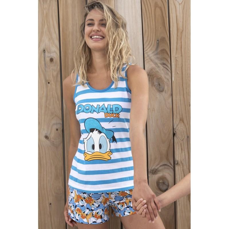 Pijama Verano Mujer DISNEY  Pato Donald Rayas
