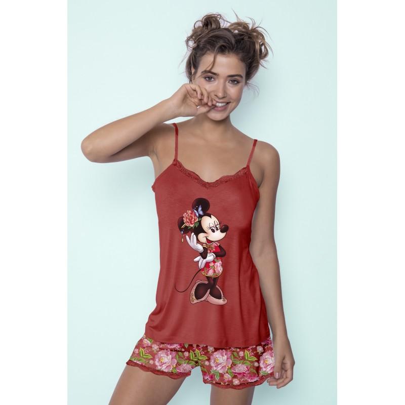 Pijama Verano Mujer DISNEY Minnie Mouse Color Rojo