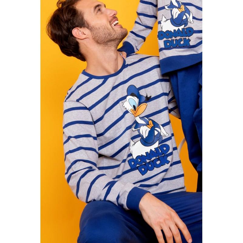 Pijama Hombre Invierno DISNEY Pato Donald Color Gris
