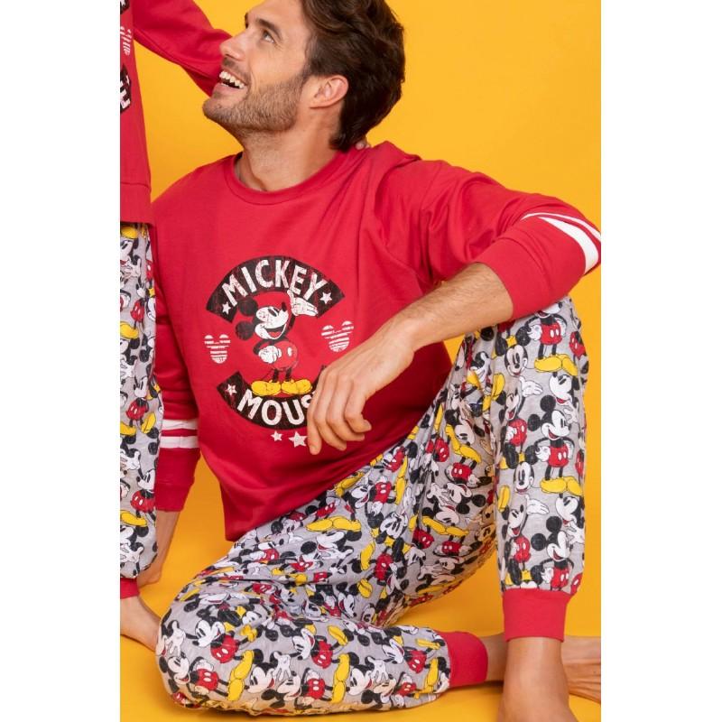 Pijama Hombre Invierno DISNEY Mickey Mouse Color Rojo