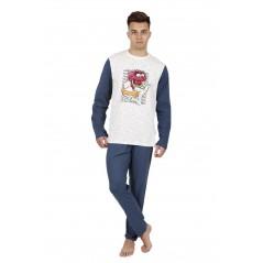 Pijama Hombre Invierno DISNEY Animal Bang Color Gris