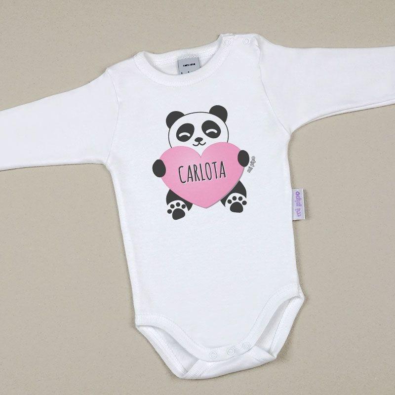 Body Bebé Personalizado con nombre estampado Panda Corazón Rosa