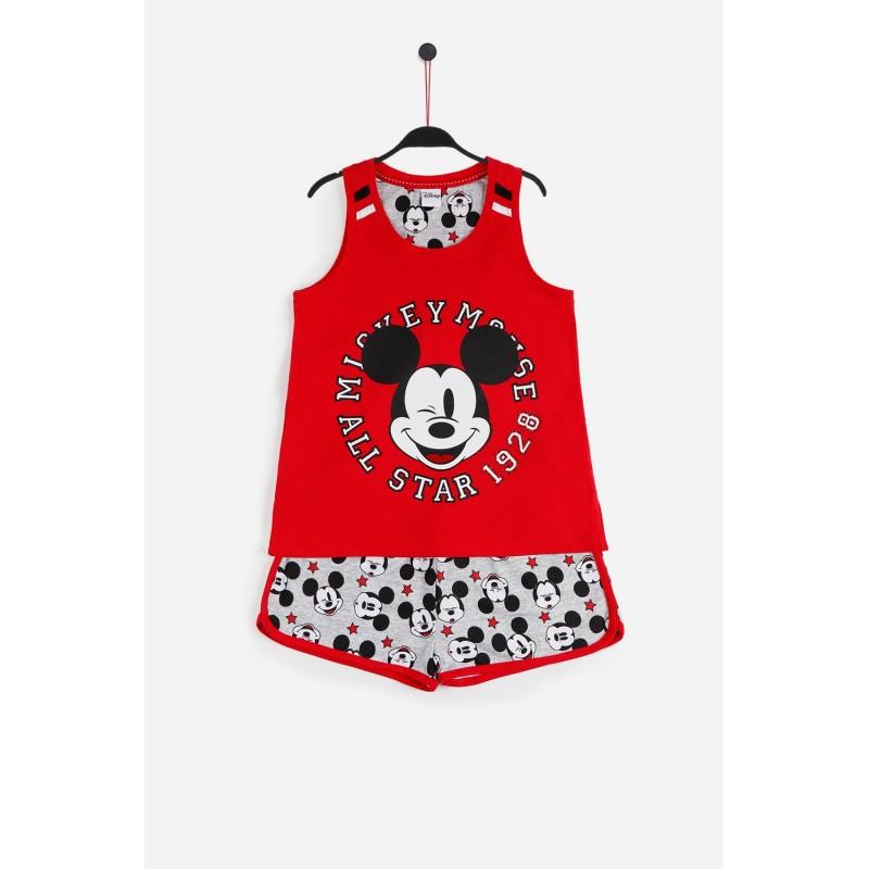 Pijama de Verano para Niña DISNEY Mickey Mouse Color ROJO