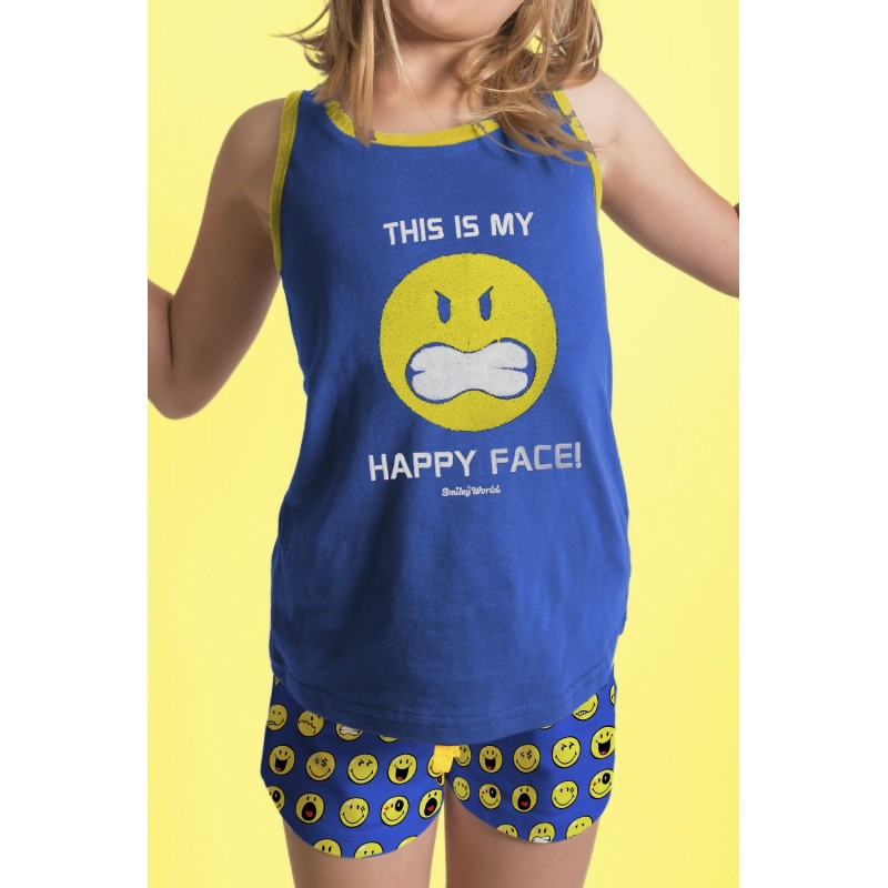 Pijama Verano Niña Tirantes SMILEY Color Azul