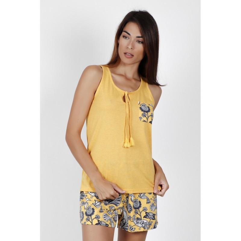 Pijama Mujer Verano Estampado Floral ADMAS Color Amarillo