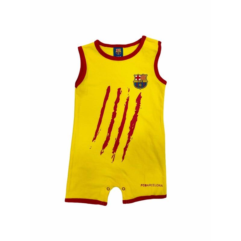 Pelele Verano para Bebé Recién Nacido FC Barcelona Color Amarillo