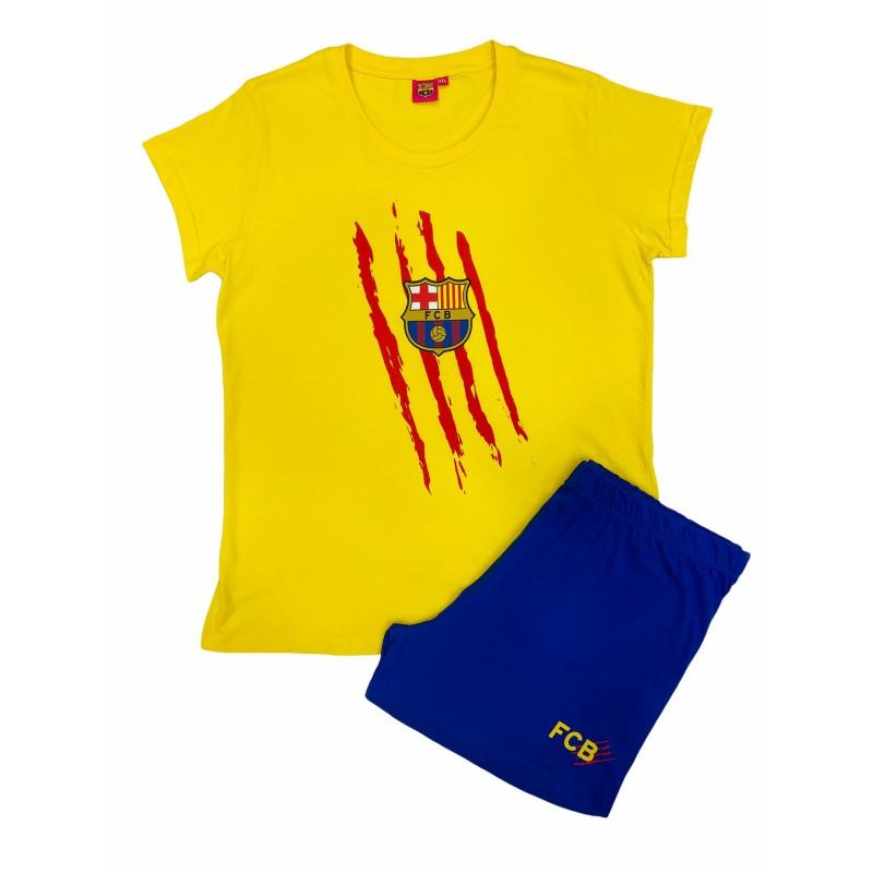 Pijama de Verano para Mujer FC Barcelona Color Amarillo