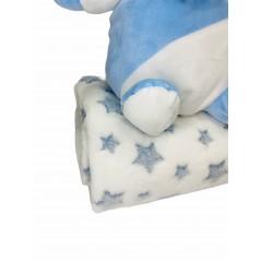 Peluche + Manta Estrellas Coralina en caja Regalo color AZUL