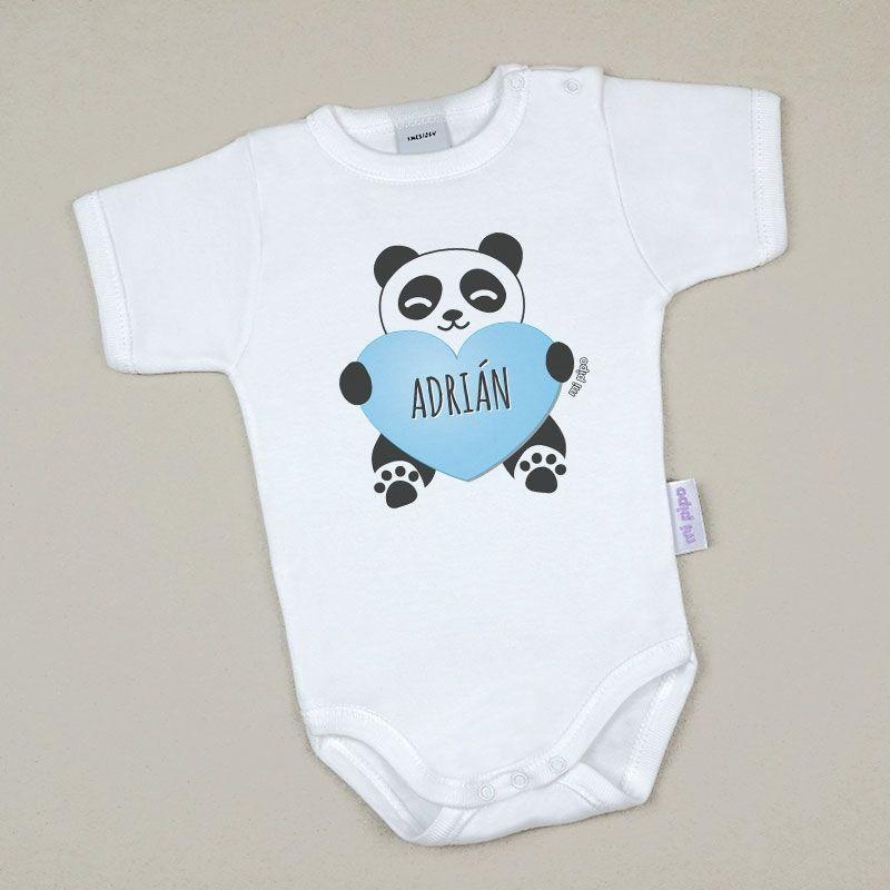 Body Bebé Personalizado con nombre estampado Panda Corazón Azul