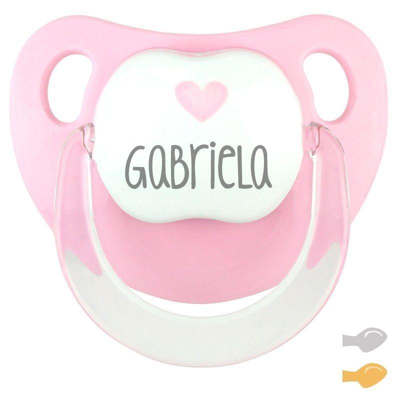 Chupete BABY DECO Corazón Rosa Nombre Personalizado