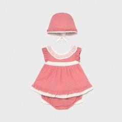 Conjunto blusón y capota recién nacida niña
