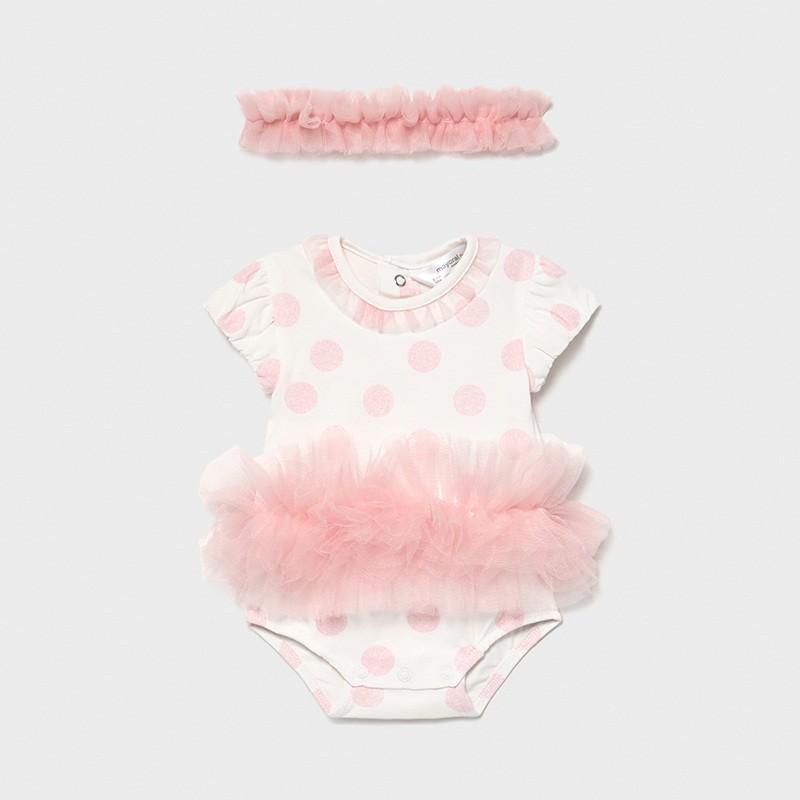 Body tutu con diadema recién nacida niña Color PALE BLUSH