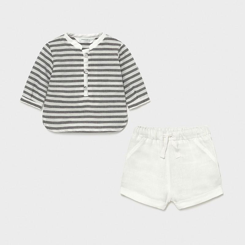 Conjunto pantalón corto y camiseta rayas recién nacido niño