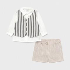 Conjunto pantalón corto camisa y chaleco recién nacido niño