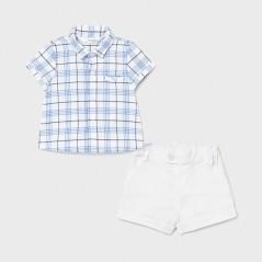 Conjunto camisa rayas y pantalón corto nacido niño