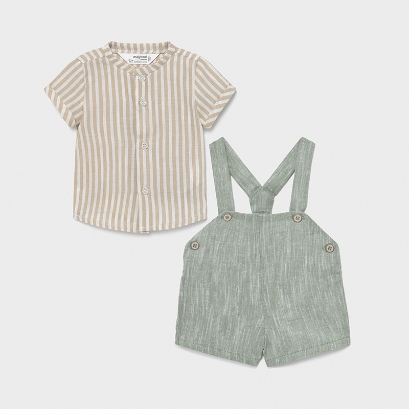Conjunto pantalón corto tirantes recién nacido niño Color BAMBÚ