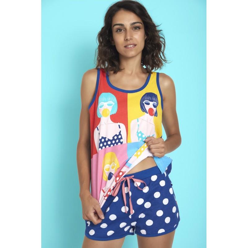 Pijama de Verano Tirantes Mujer SANTORO POP Color Azul