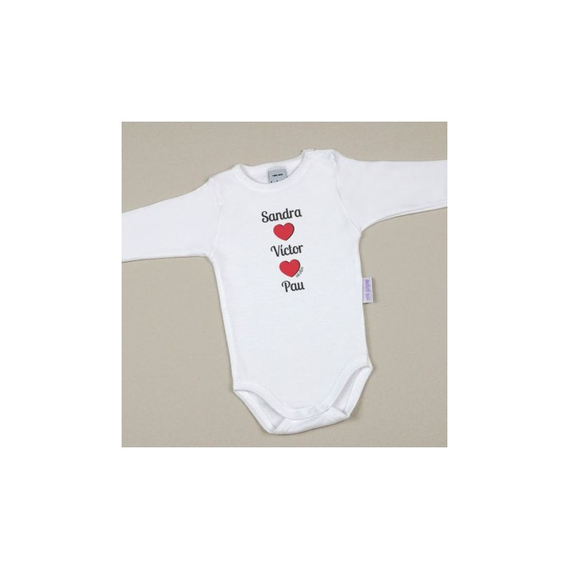 Body Bebé Personalizado con nombre Mamá + Papá + Bebé