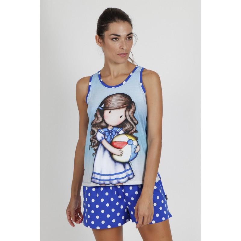 Pijama de Verano Tirantes Mujer SANTORO GORJUSS Color Azul
