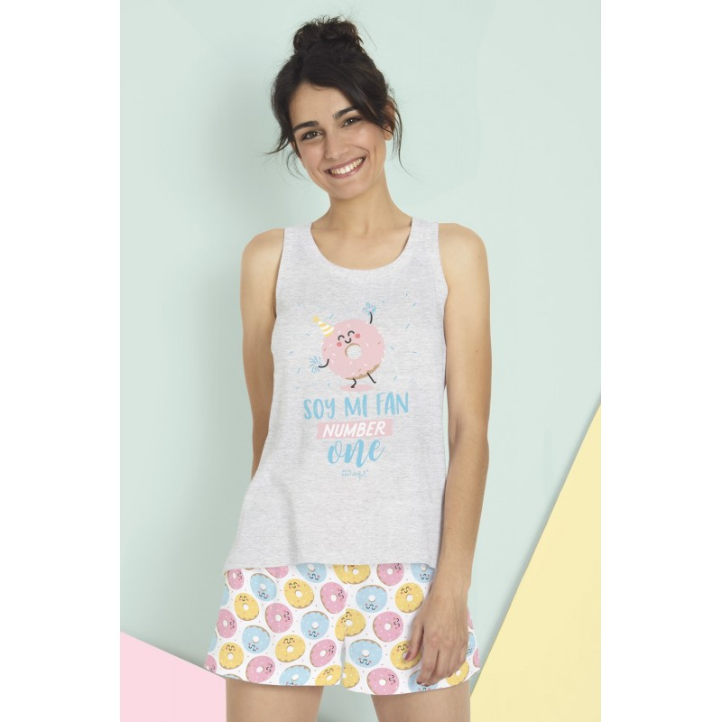 Pijama de Verano Mujer Mr WONDERFUL DONUT Color Gris