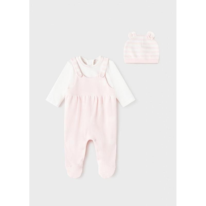 Pelele con Gorro Bebé Recién Nacida MAYORAL Color Rosa