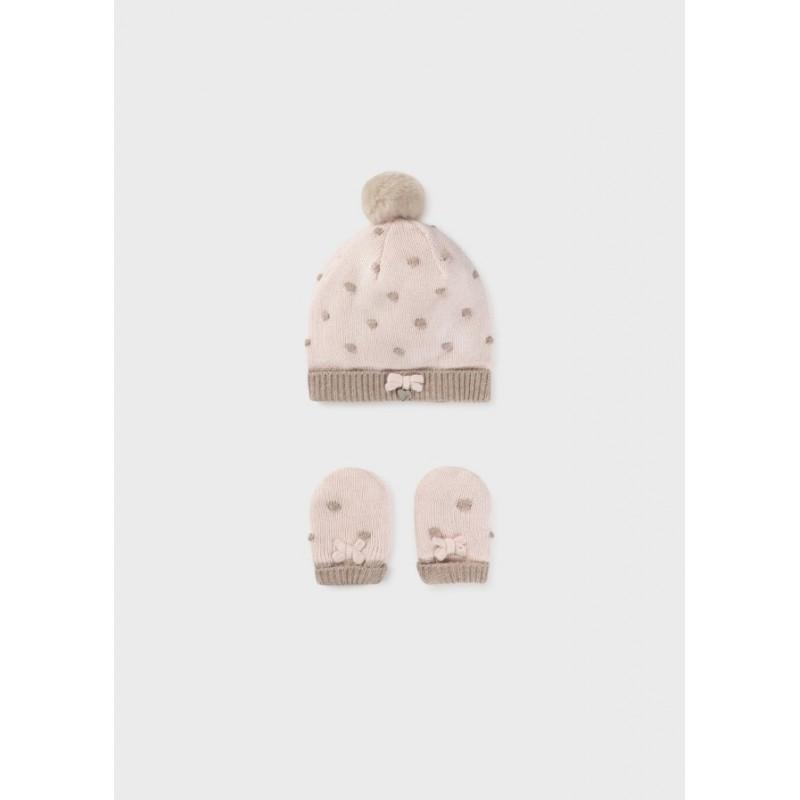 Conjunto Gorro y Manoplas Bebé MAYORAL Color Rosa