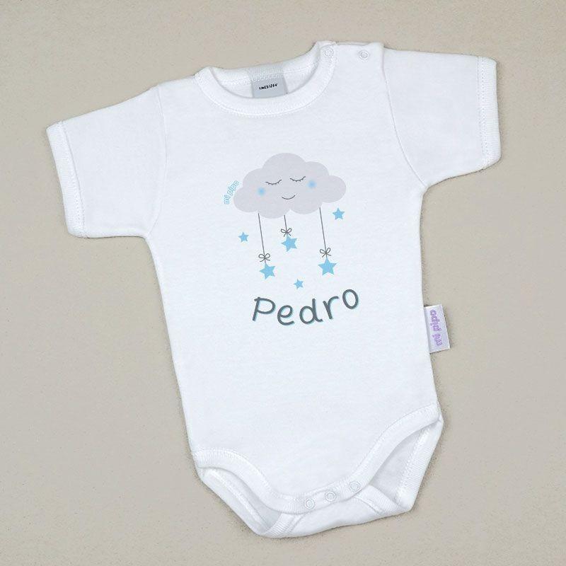 Body Bebé Personalizado con nombre Nube Azul