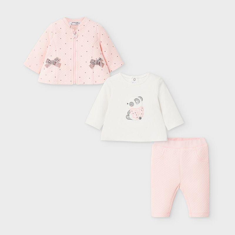 Chándal MAYORAL Bebé 3 piezas Panda ROSA BABY