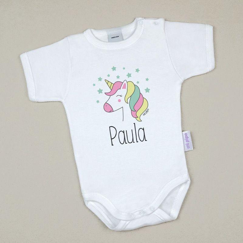 Body Bebé Personalizado con nombre estampado Unicornio