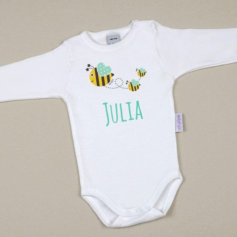 Body Bebé Personalizado con nombre Abejas