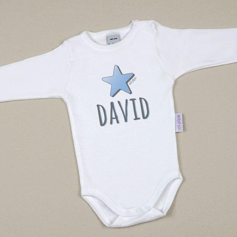 Body Bebé Personalizado con nombre estampado Estrella Azul