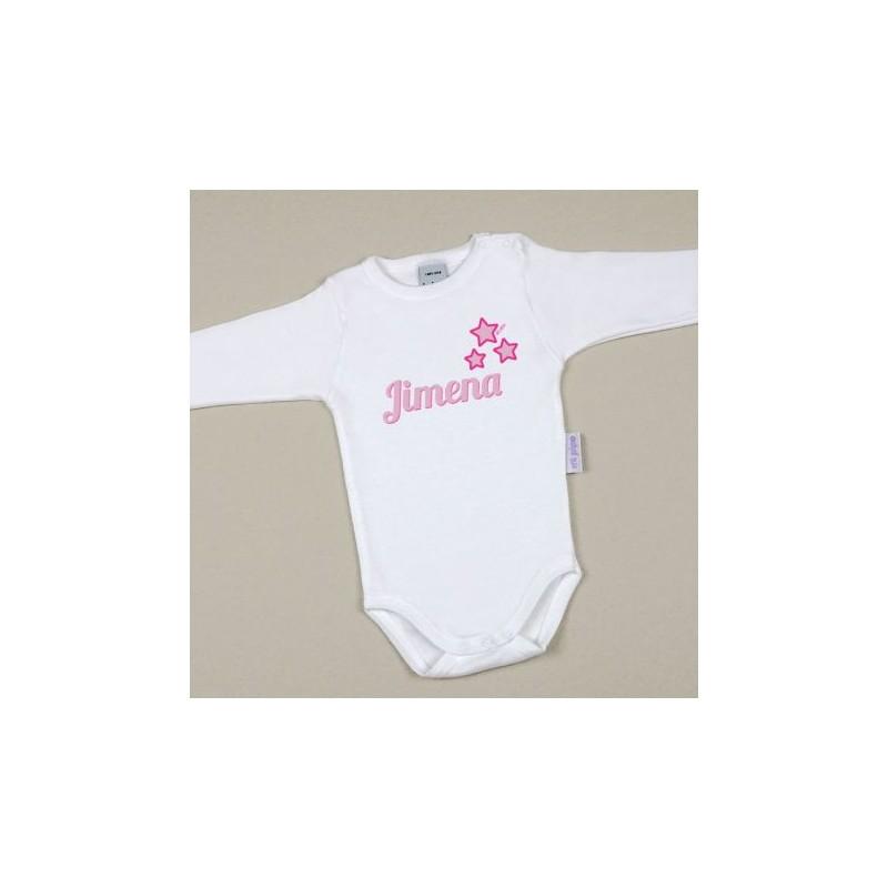 Body Bebé Personalizado con nombre estampado Estrellas Rosa