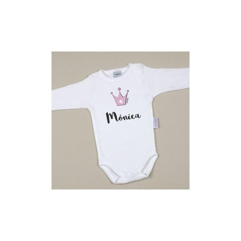 Body Bebé Personalizado con nombre estampado Corona Rosa