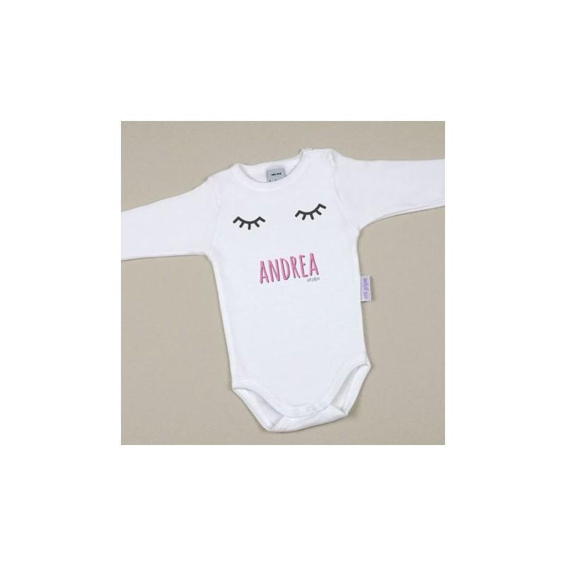 Body Bebé Personalizado con nombre estampado Pestañas Rosa
