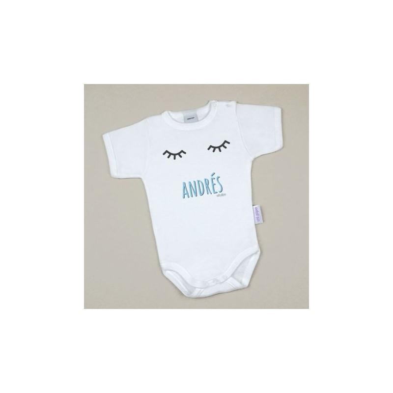 Body Bebé Personalizado con nombre estampado Pestañas Azul