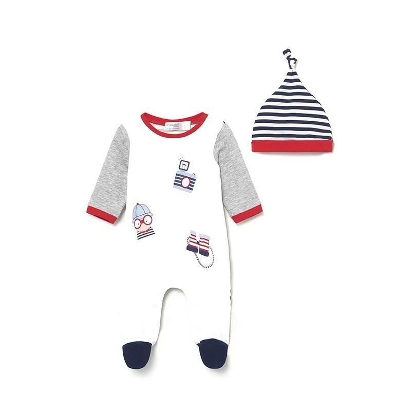 Pijama de Punto con Gorro para Bebé Recién Nacido MAYORAL Color SILVER