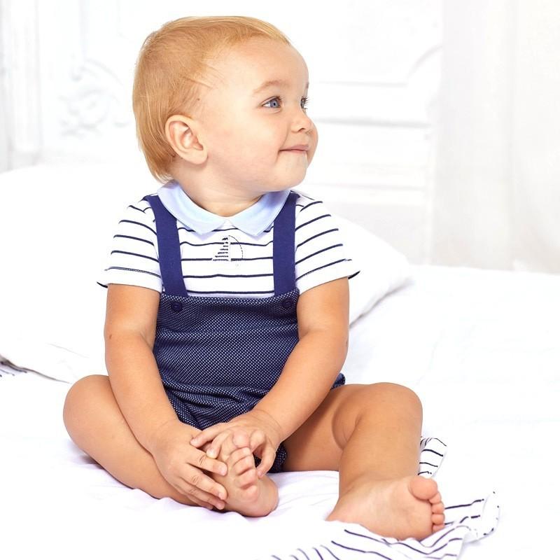 Pelele Punto y Gorro para Bebé Recién Nacido MAYORAL Color NAVY